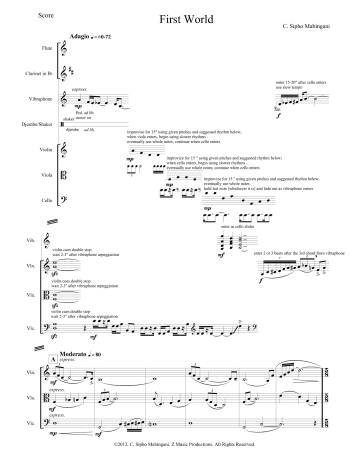 "Click for larger view of a page of the score for C. Sipho Mabingani's ""First World"" (courtesy of the composer)"