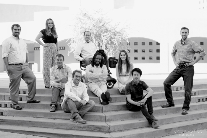 ASU SCI composers: (L to R) Chris Lamb, Lisa Atkinson, Adam Giese, Elliot Sneider, Gil Dori, C. Sipho Mabingani, Bethany Brown, Phi Bui, Joshua Jandreau; not pictured: Justin Kennedy and Garrett Miller (Nicole Marino Photography)